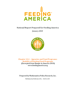 Feeding America Agencies and Food Programs: Stability of Existing Food Programs