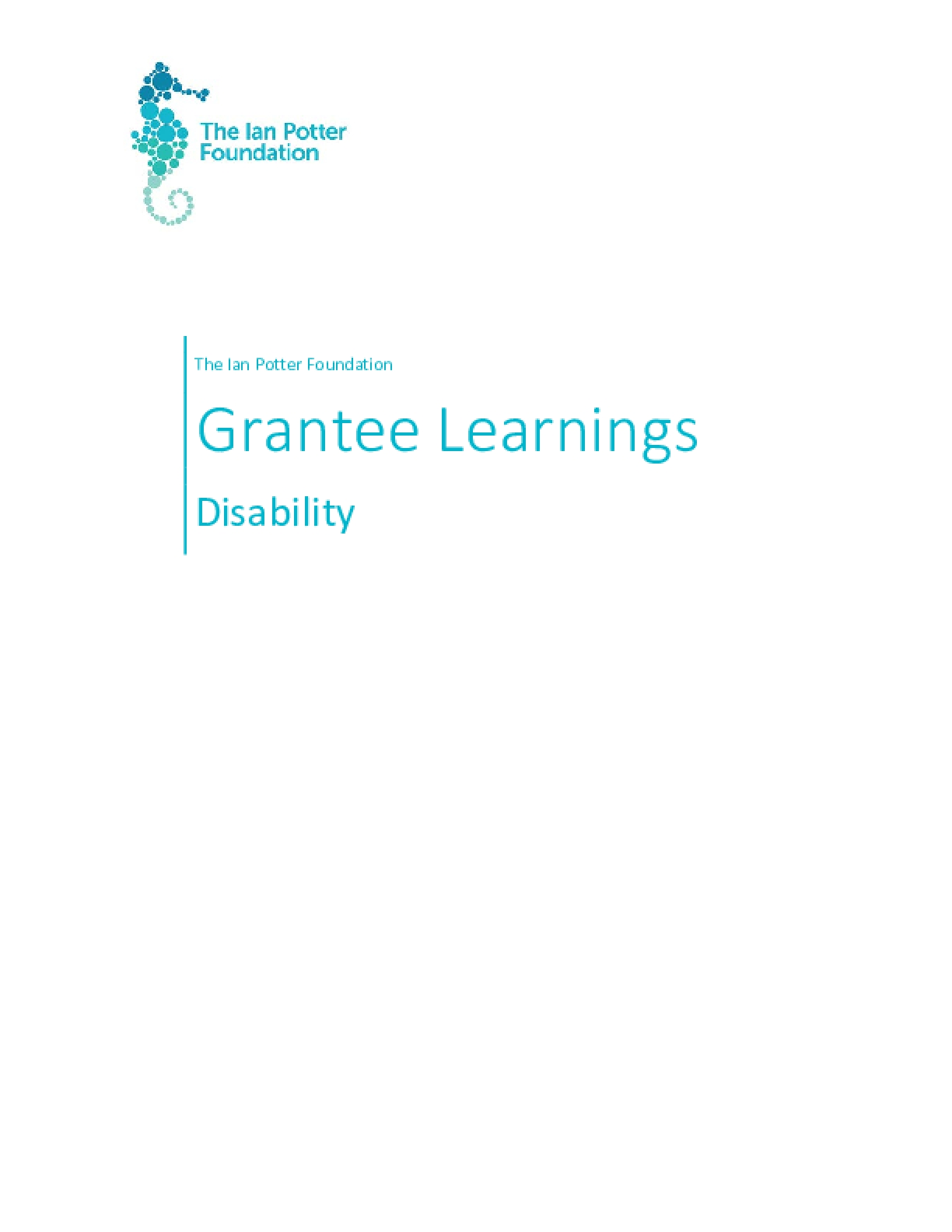 Grantee Learnings: Disability