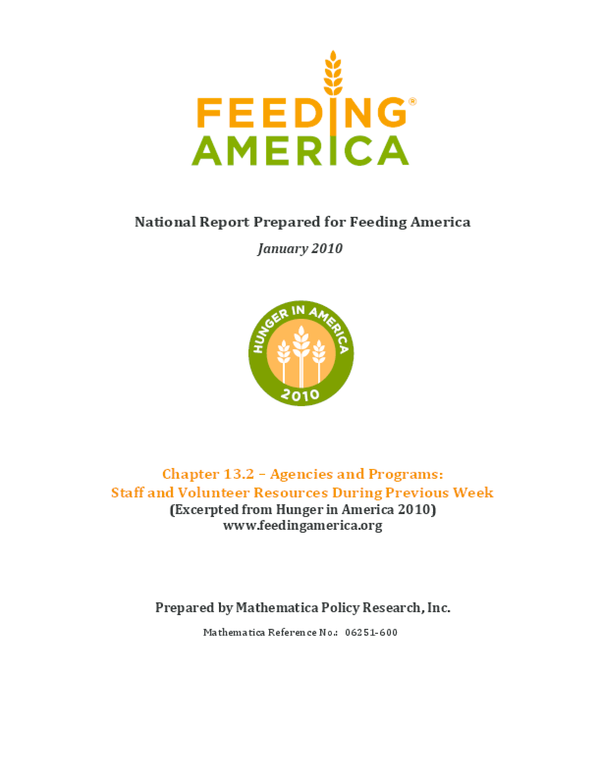 Feeding America Agencies and Food Programs: Staff and Volunteer Resources During Previous Week