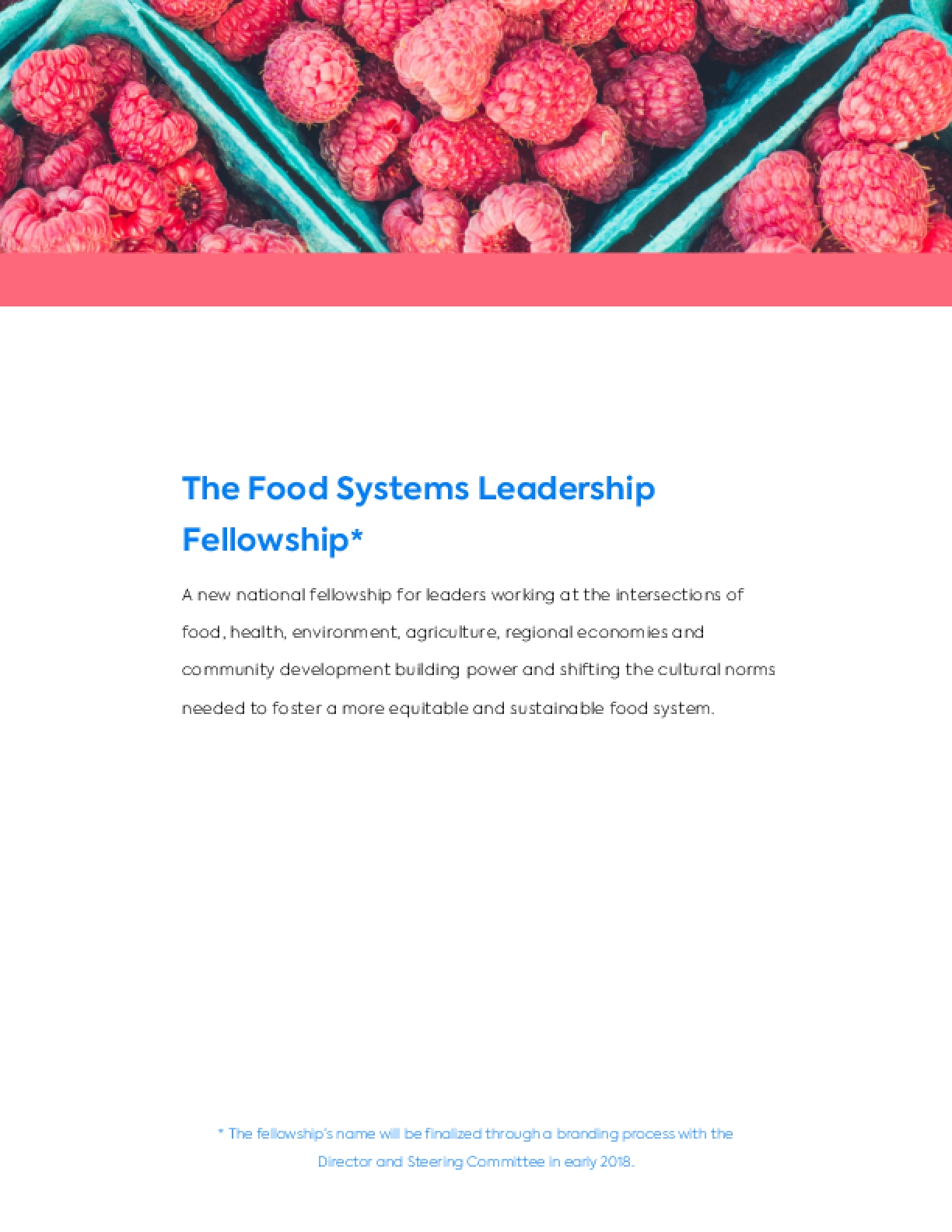 A New National Fellowship for Food Systems Leaders