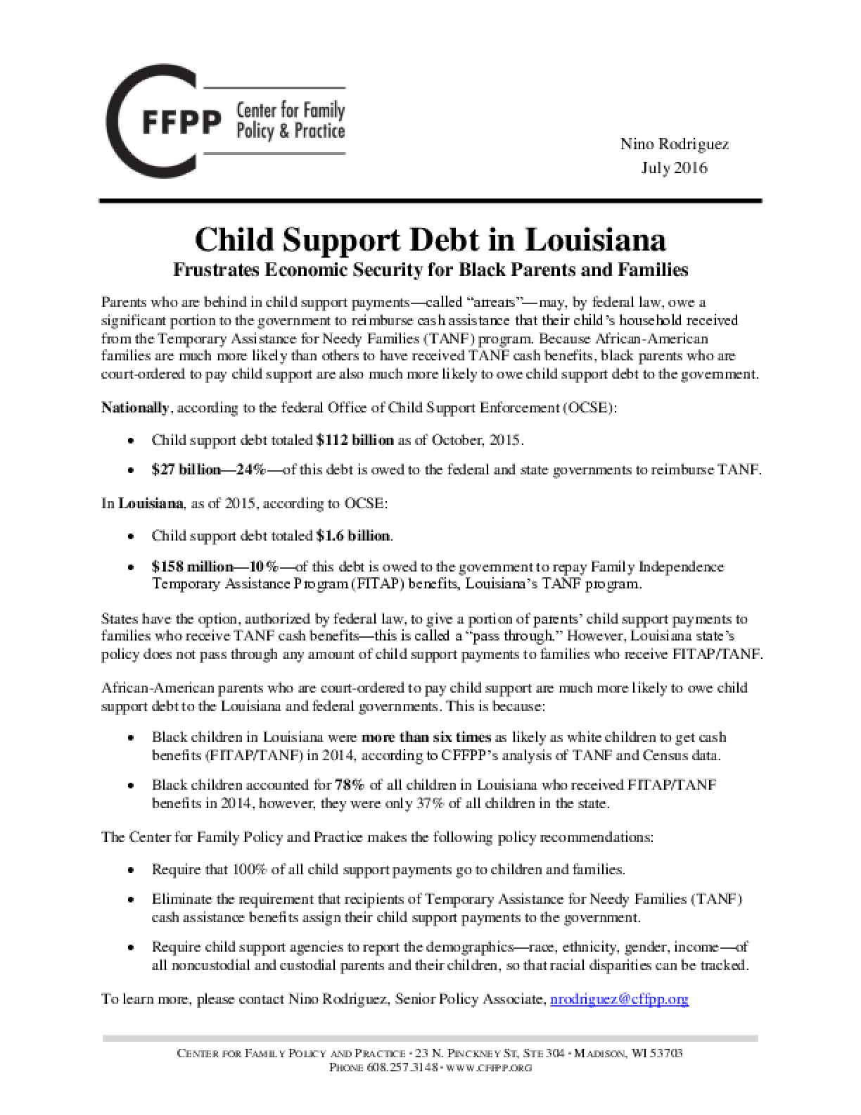 Child Support Debt in Louisiana Frustrates Economic Stability for Black Parents and Families