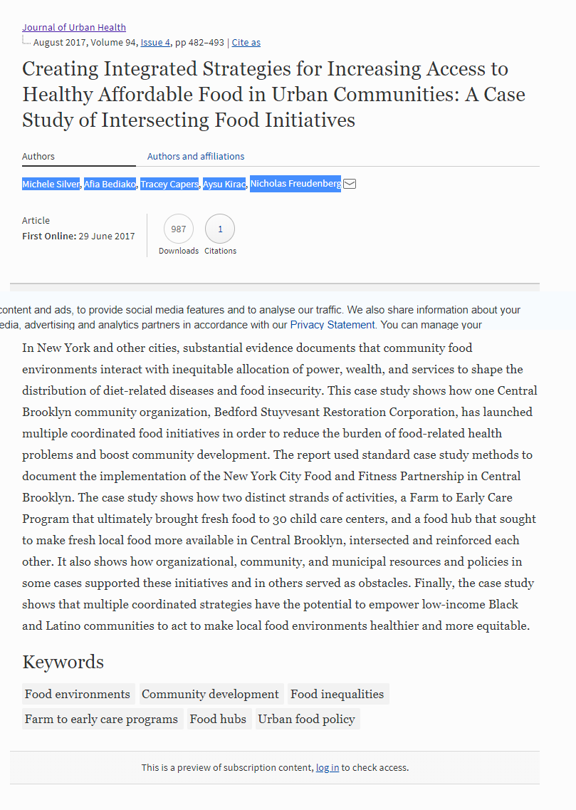 Creating Integrated Strategies for Increasing Access to Healthy Affordable Food in Urban Communities: A Case Study of Intersecting Food Initiatives
