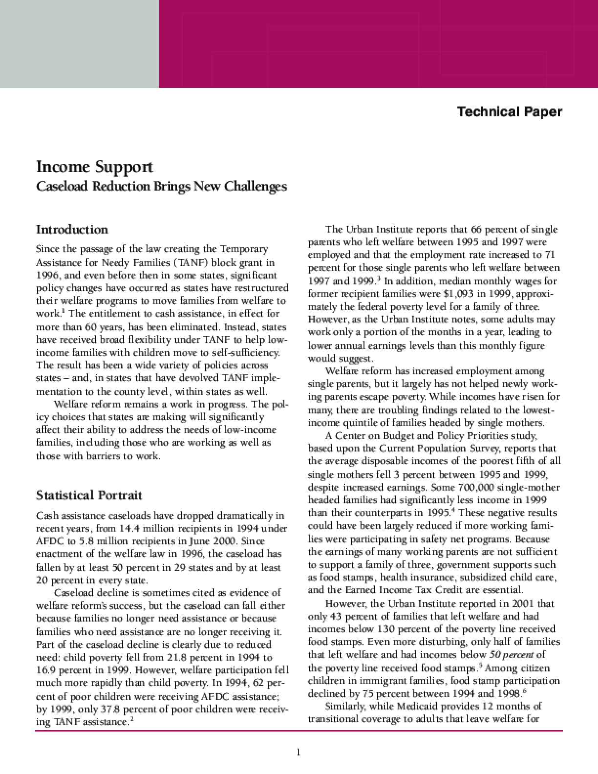 Income Support: Caseload Reduction Brings New Challenges