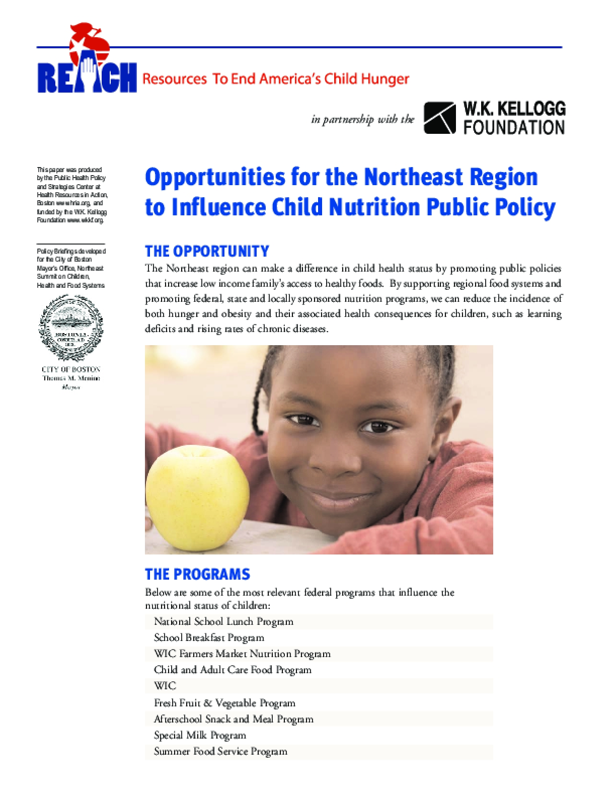 Opportunities for the Northeast Region to Influence Child Nutrition Public Policy