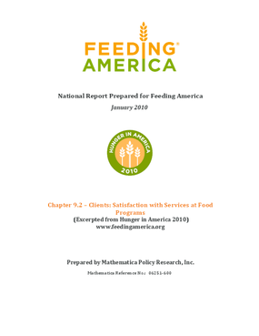 Feeding America Client Satisfaction with Services at Food Programs