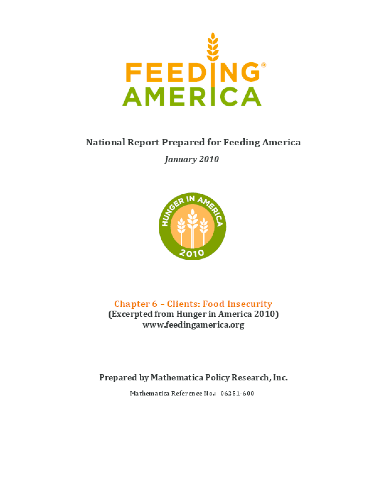 Food Insecurity Among Feeding America Clients