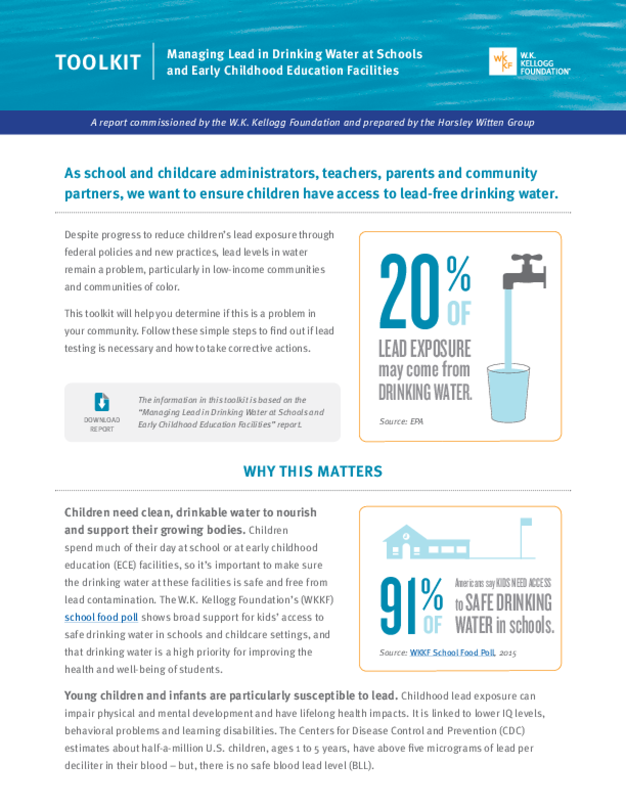 Managing Lead in Drinking Water at Schools and Early Childhood Education Facilities, Toolkit