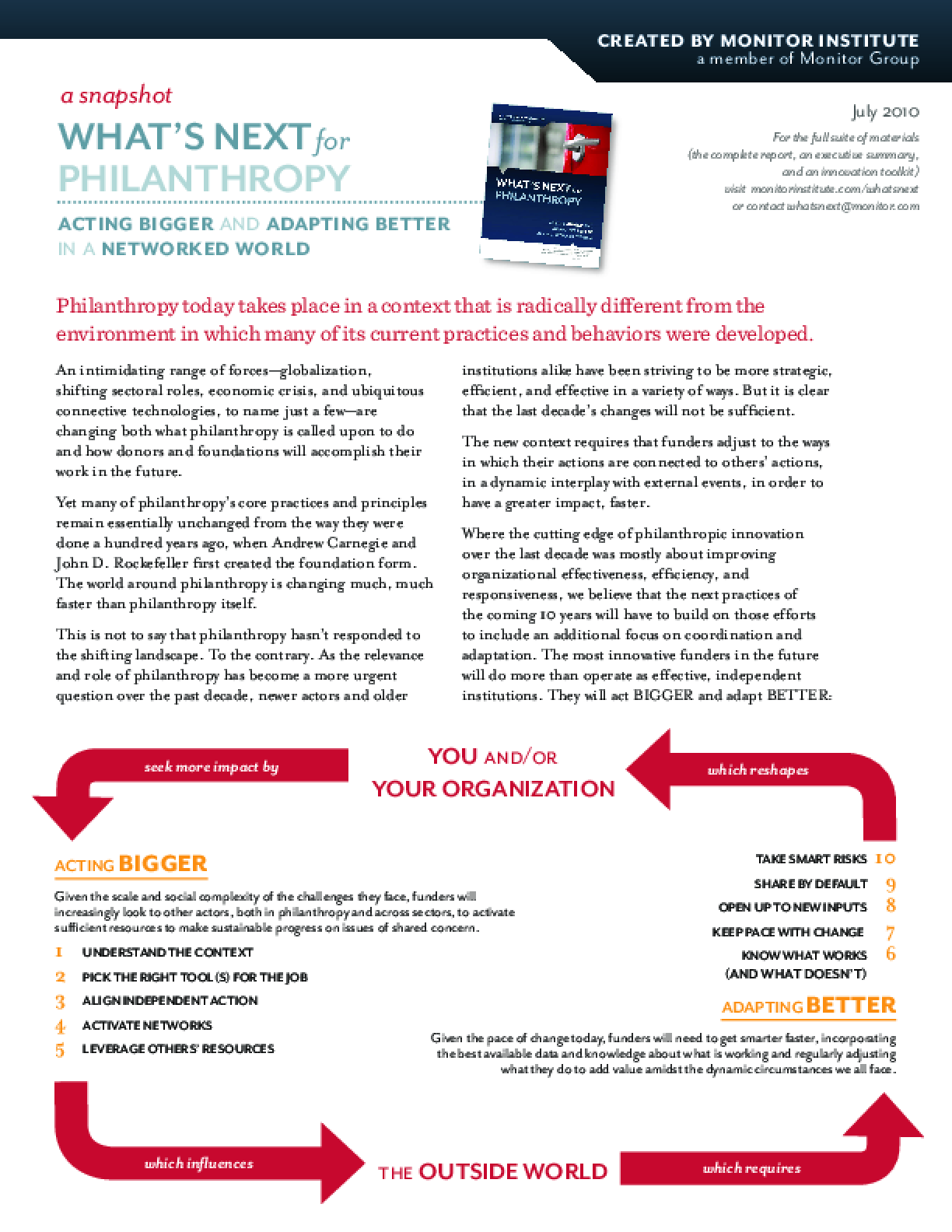 What's Next for Philanthropy: Acting Bigger and Adapting Better in a Networked World (Snapshot)