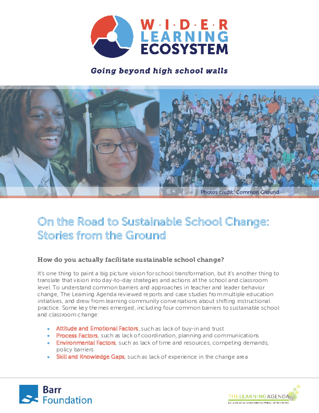 On the Road to Sustainable School Change: Stories from the Ground