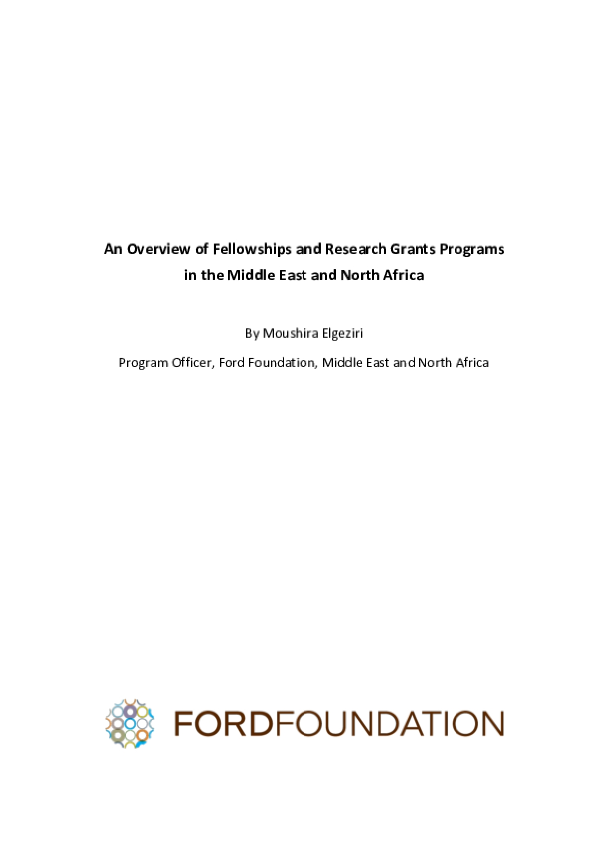 Fellowships and Research Grants Programs in the Middle East and North Africa: An Overview