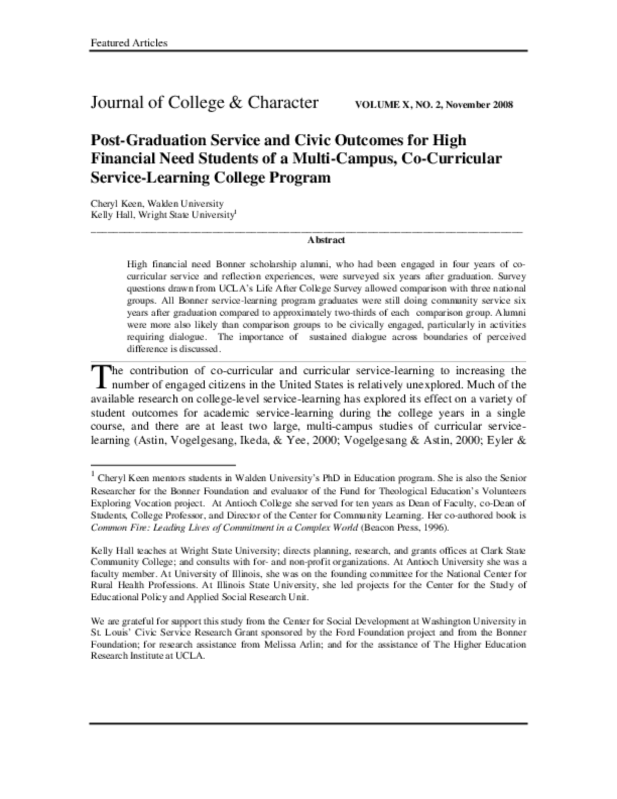 Post-Graduation Service and Civic Outcomes for High Financial Need Students of a Multi-Campus, Co-Curricular Service-Learning College Program