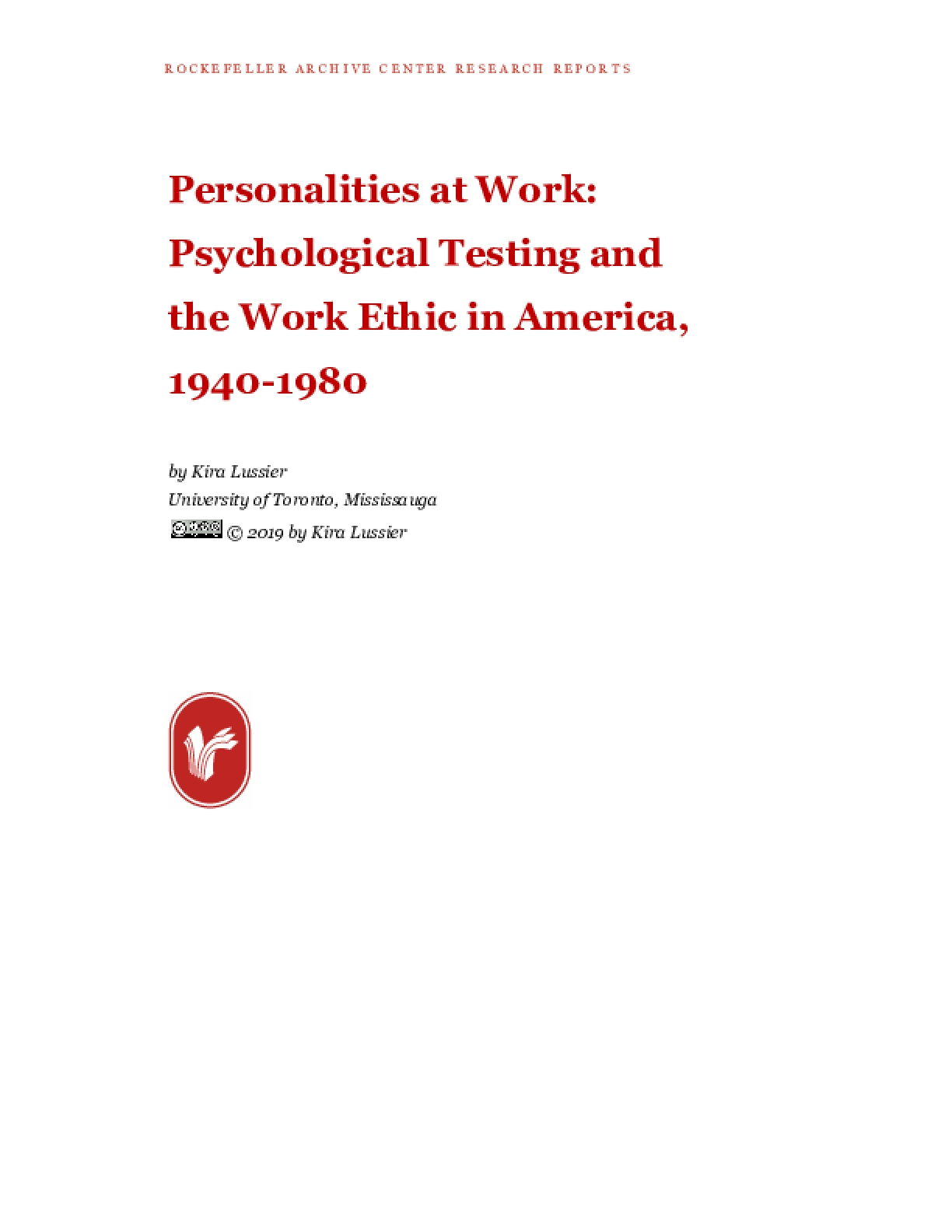Personalities at Work: Psychological Testing and the Work Ethic in America, 1940-1980