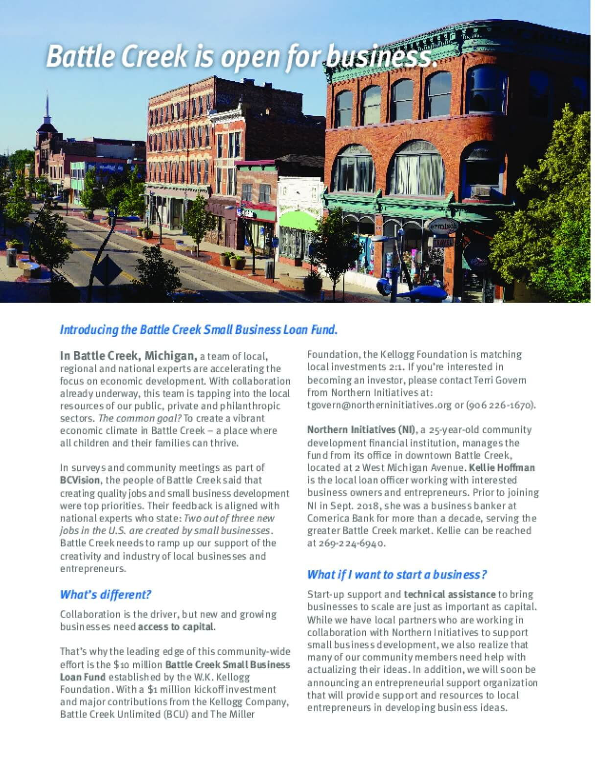 Introducing the Battle Creek Small Business Loan Fund