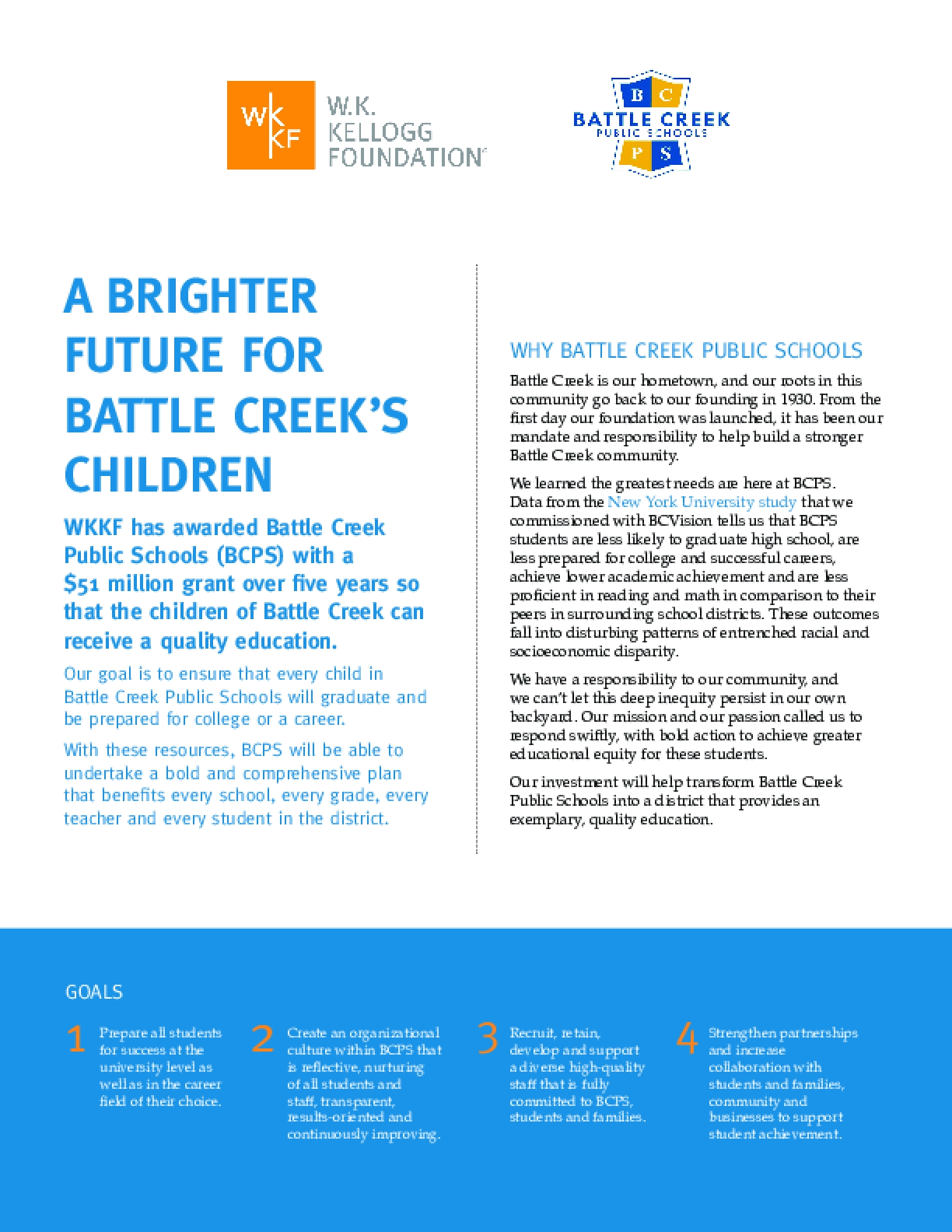 A Brighter Future for Battle Creek's Children: Fact Sheet