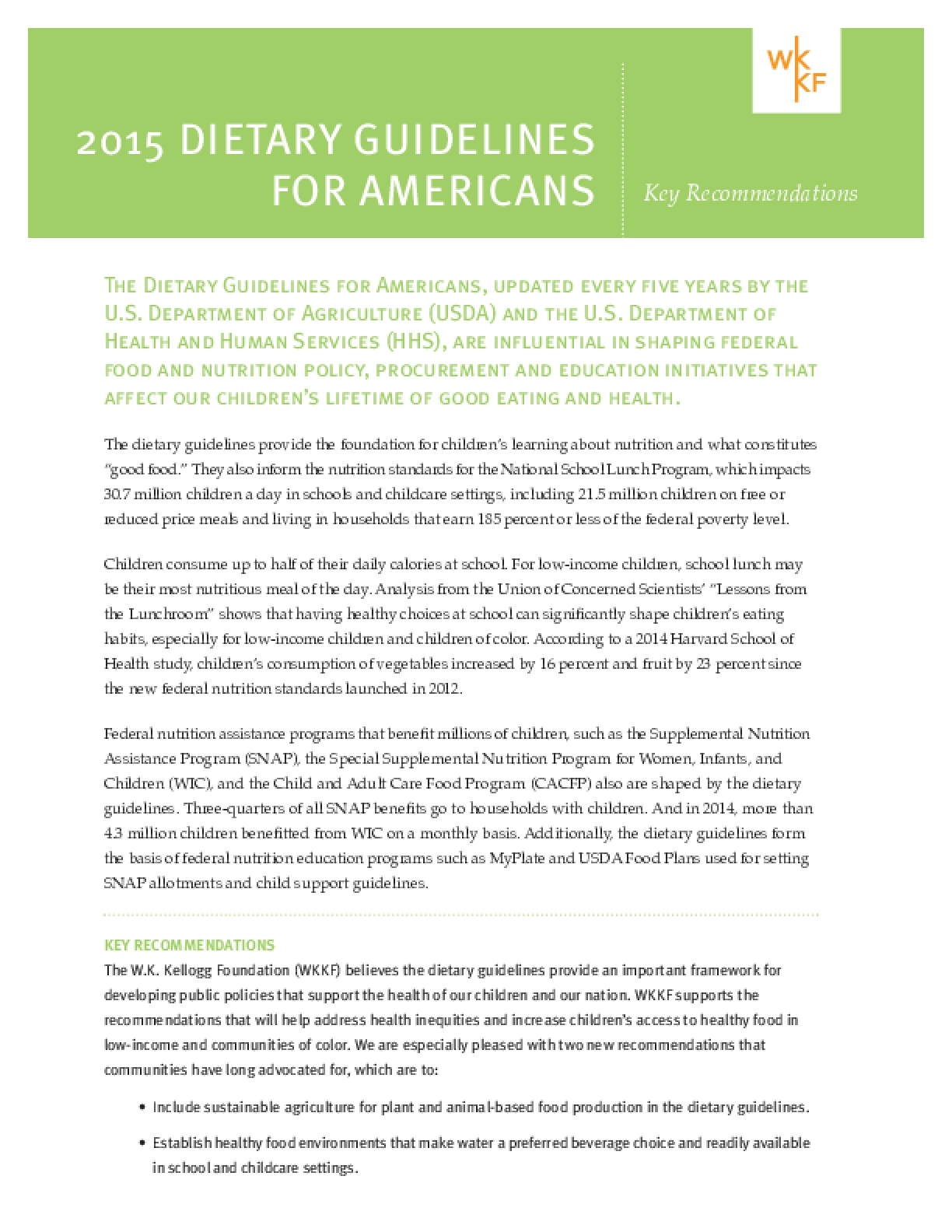 2015 Dietary Guidelines for Americans: Key Recommendations