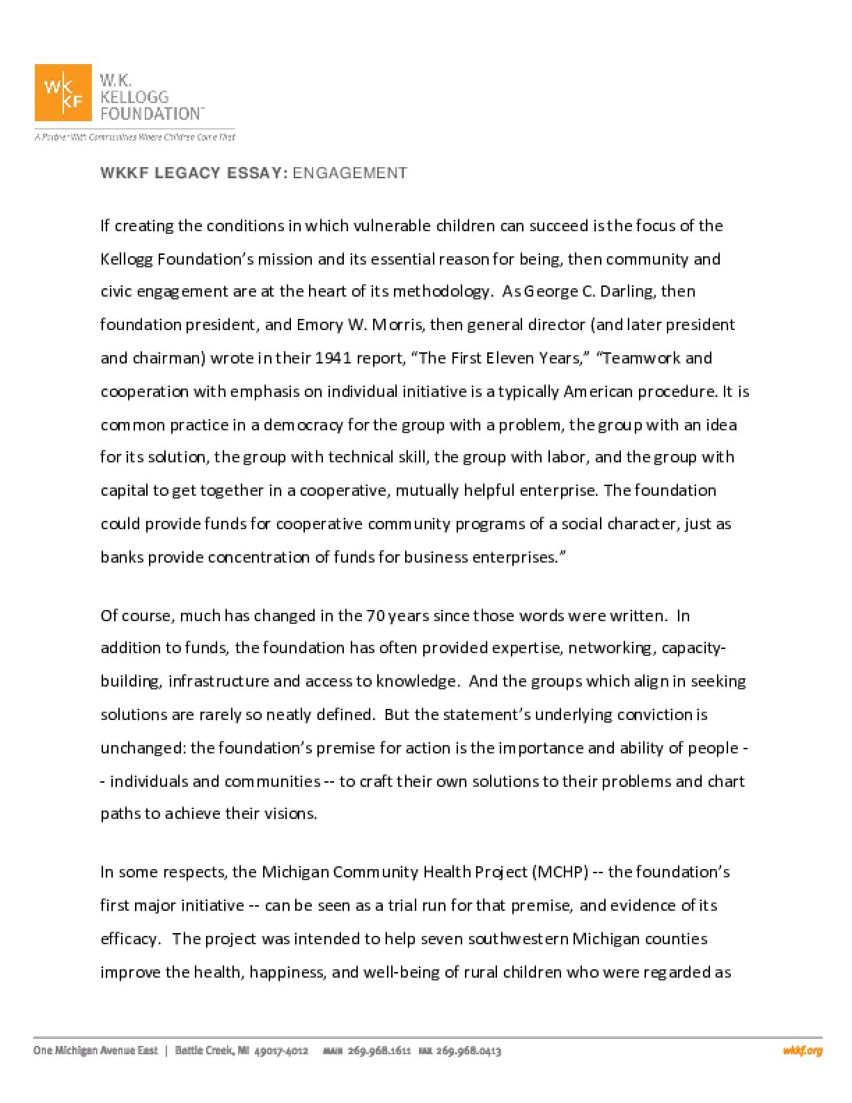 WKKF Legacy Essay: Engagement