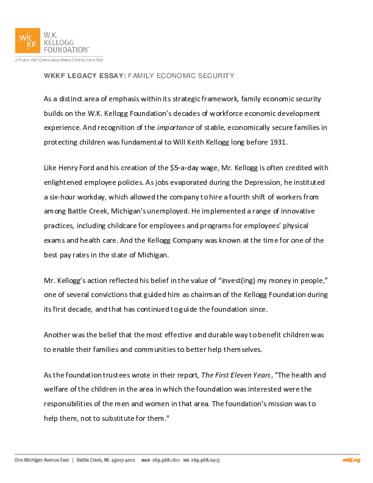 WKKF Legacy Essay: Family Economic Security