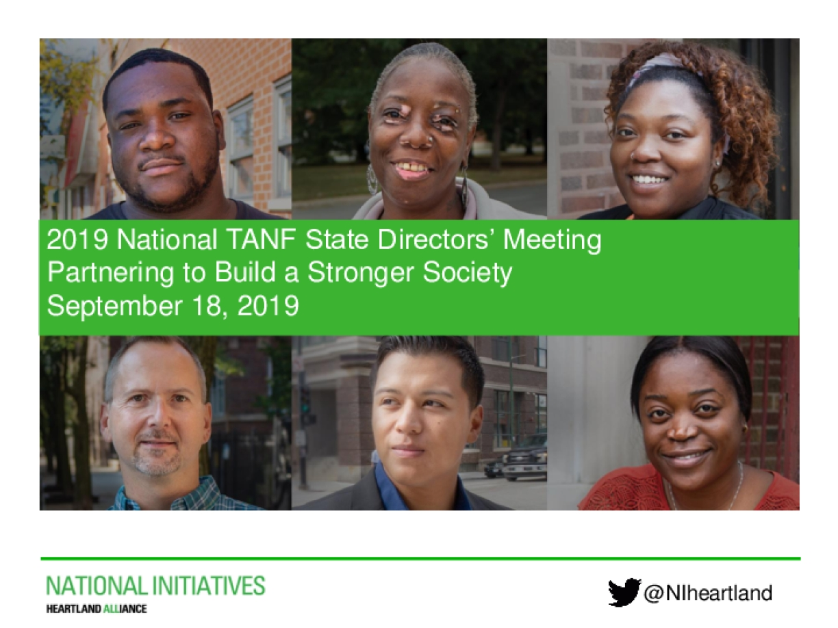 2019 National TANF State Directors' Meeting Partnering to Build a Stronger Society