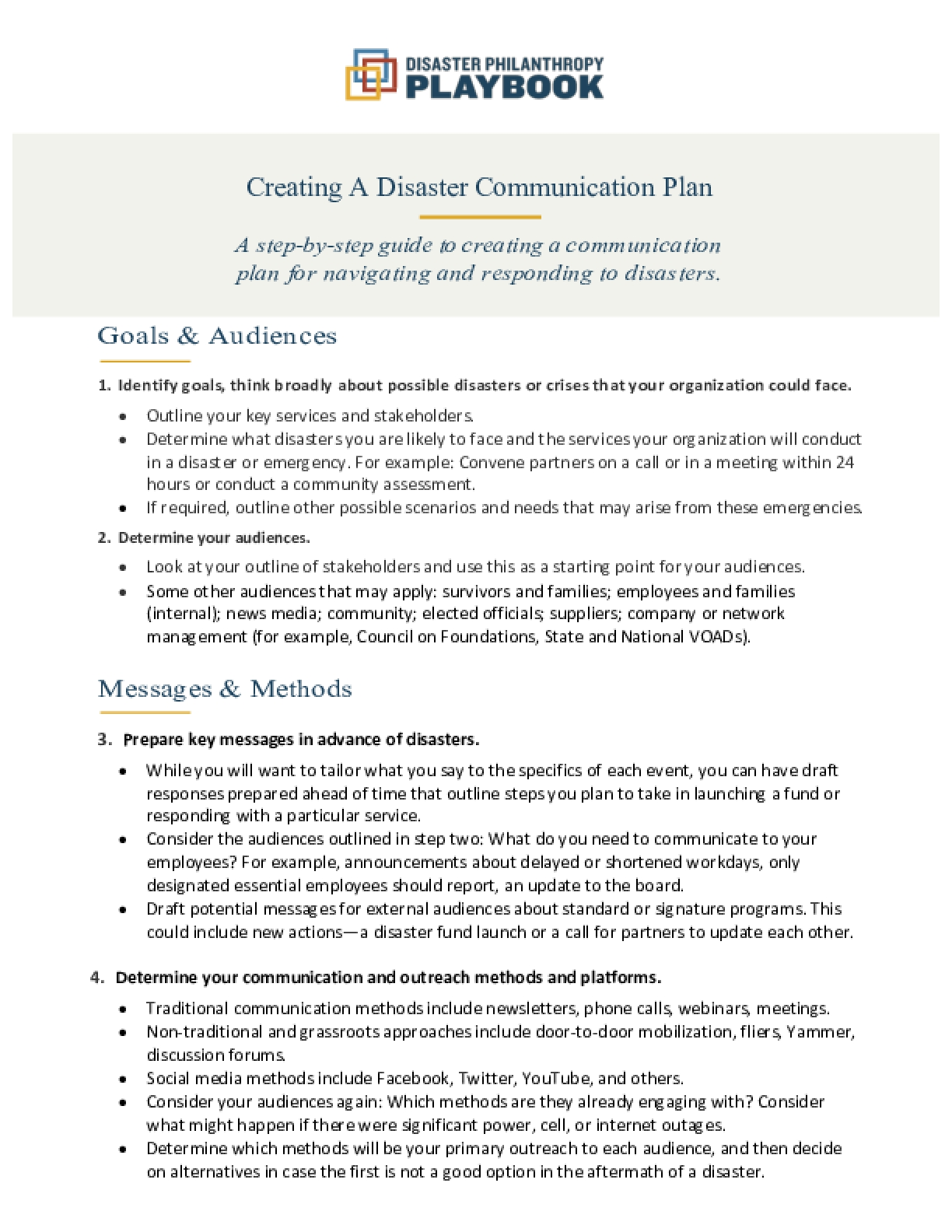 Creating A Disaster Communication Plan