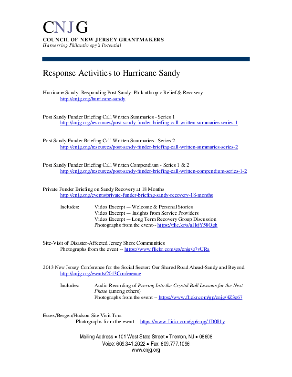 Response Activities to Hurrican Sandy