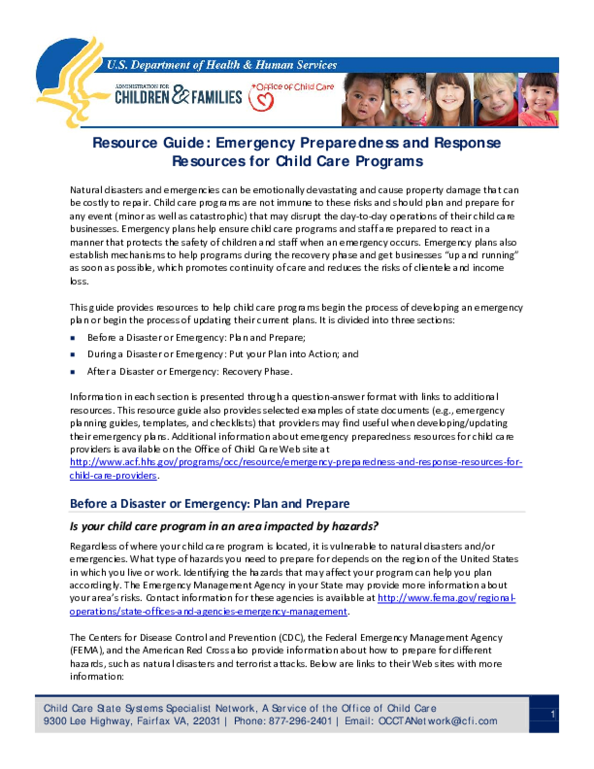 Resource Guide: Emergency Preparedness and Response Resources for child Care Programs