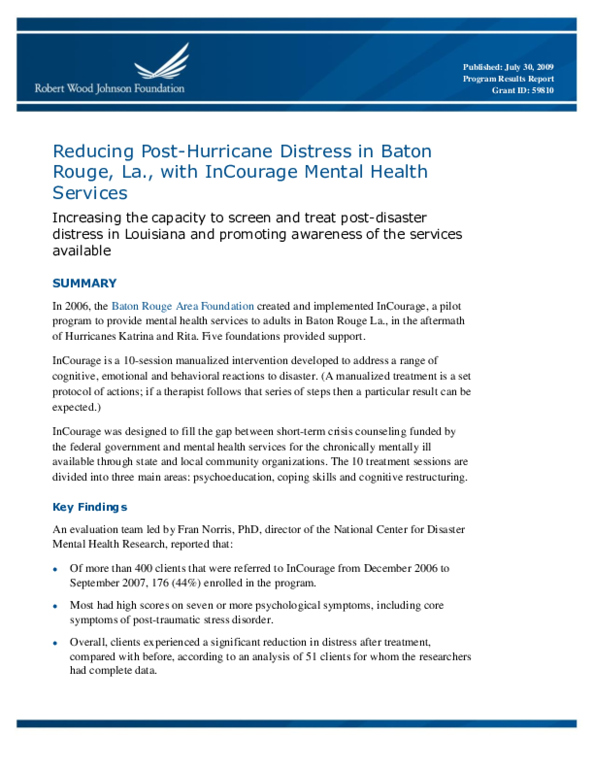 Reducing Post-Hurricane Distress in Baton Rouge, La., with InCourage Mental Health Services