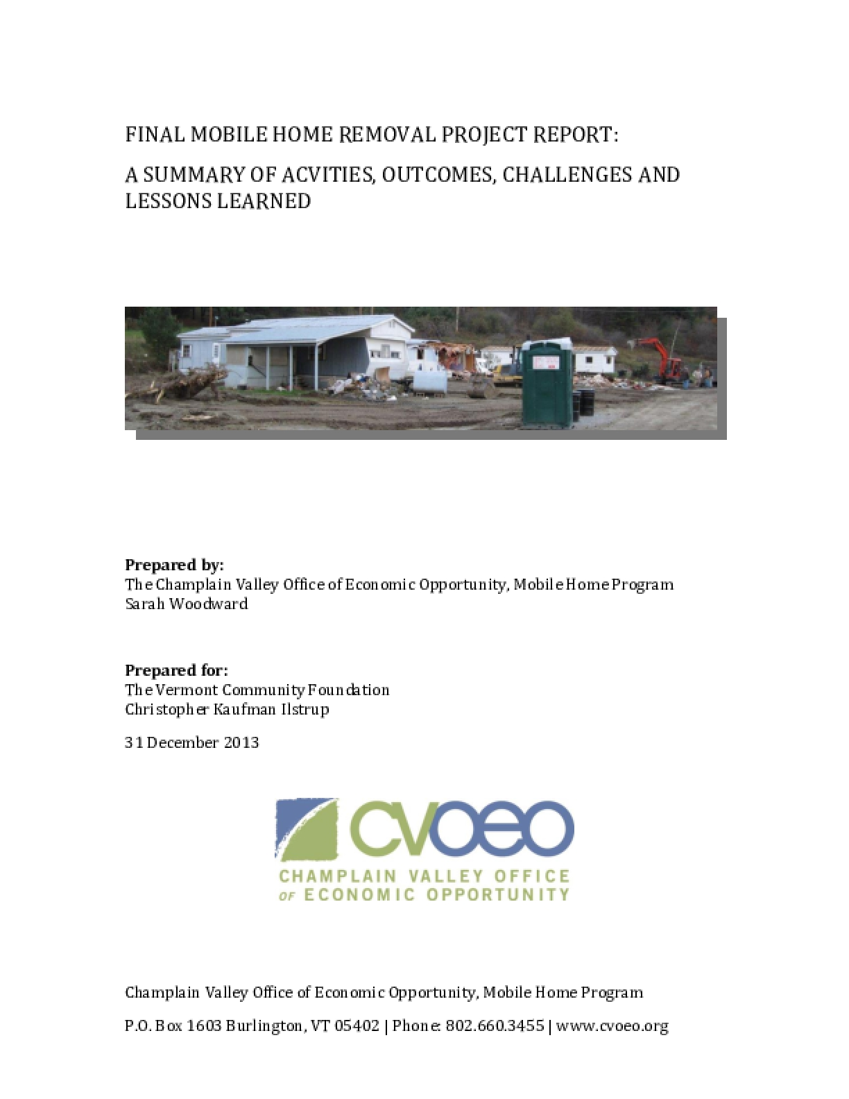 Final Mobile Home Removal Project Report: A Summary of Activities, Outcomes, Challenges and Lessons Learned