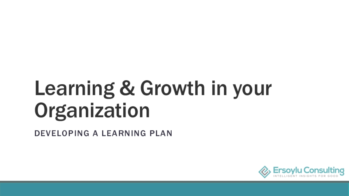 Learning & Growth in your Organization DEVELOPING A LEARNING PLAN