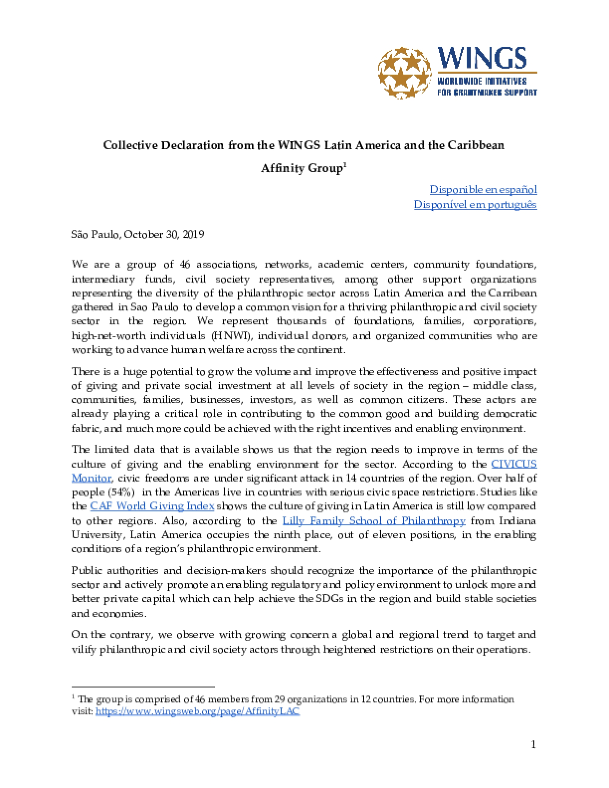 Collective Declaration from the WINGS Latin America and the Caribbean  Affinity Group