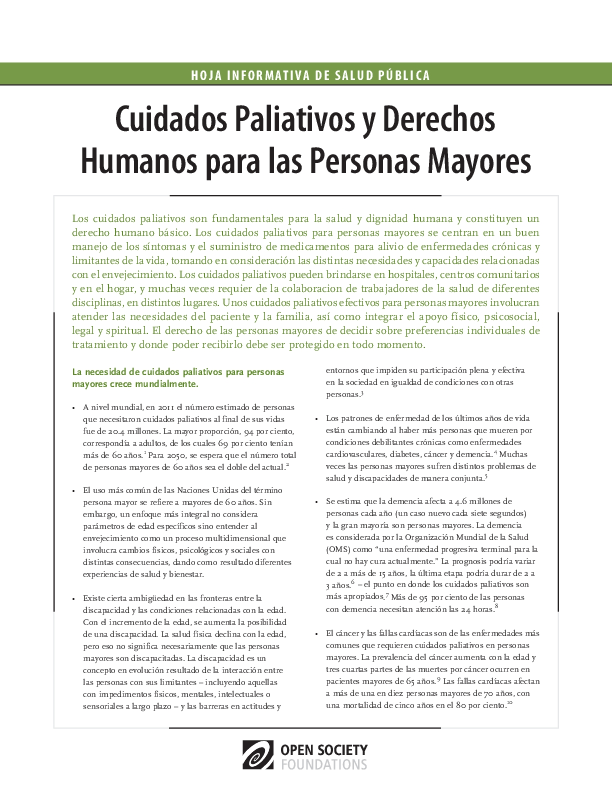 Palliative Care and Human Rights for Older Persons: Spanish