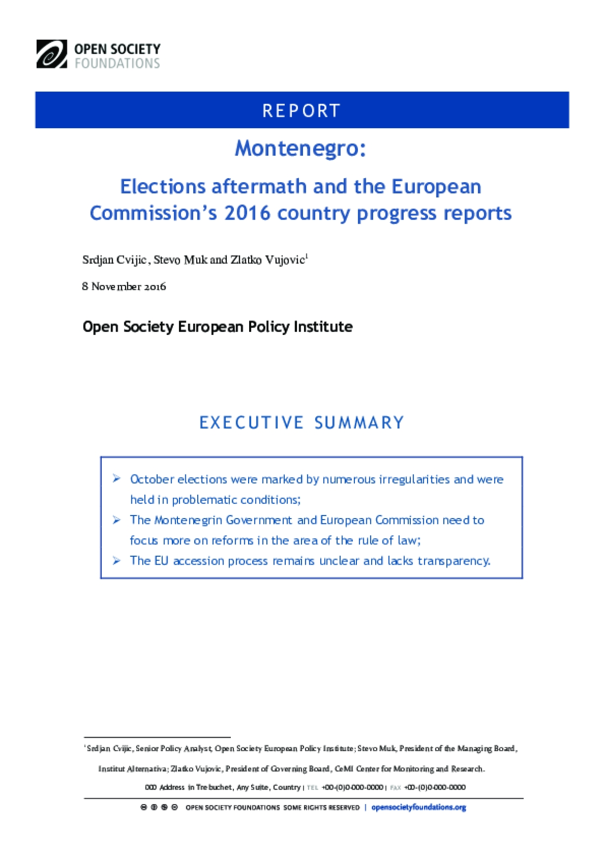 Montenegro: Elections Aftermath and the European Commission's 2016 Country Progress Reports