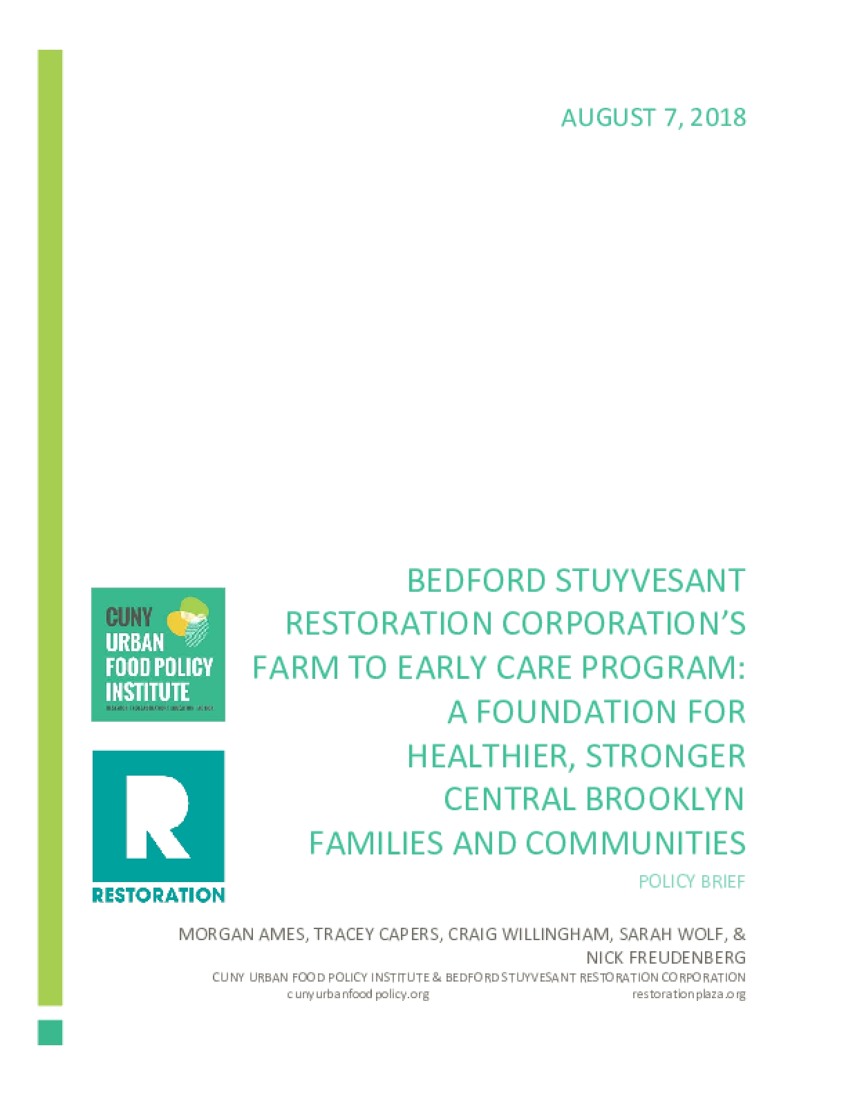 Bedford Stuyvesant Restoration Corporation's Farm to Early Care Program:  A Foundation for Healthier, Stronger Central Brooklyn Families and Communities