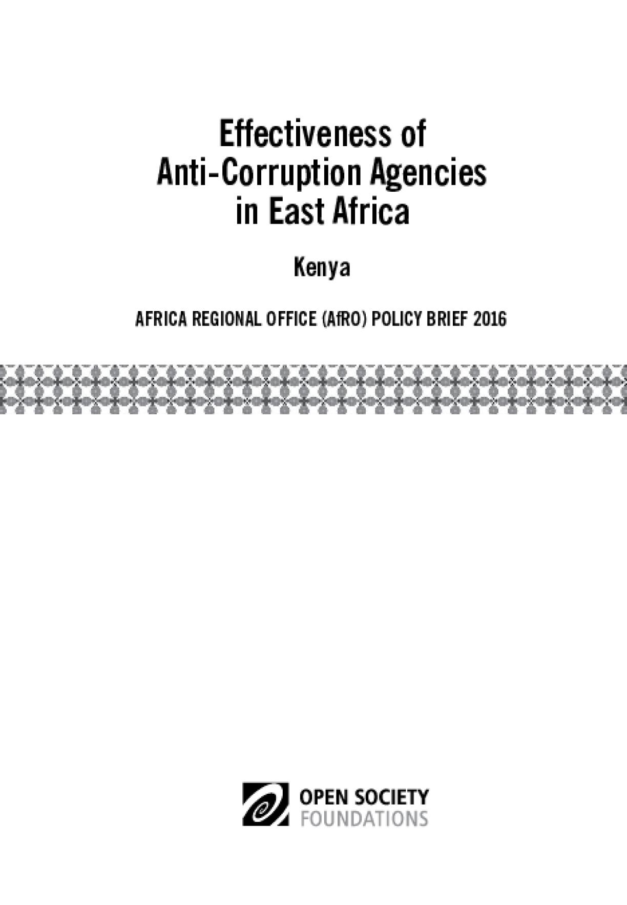Effectiveness of Anticorruption Agencies in East Africa: Kenya