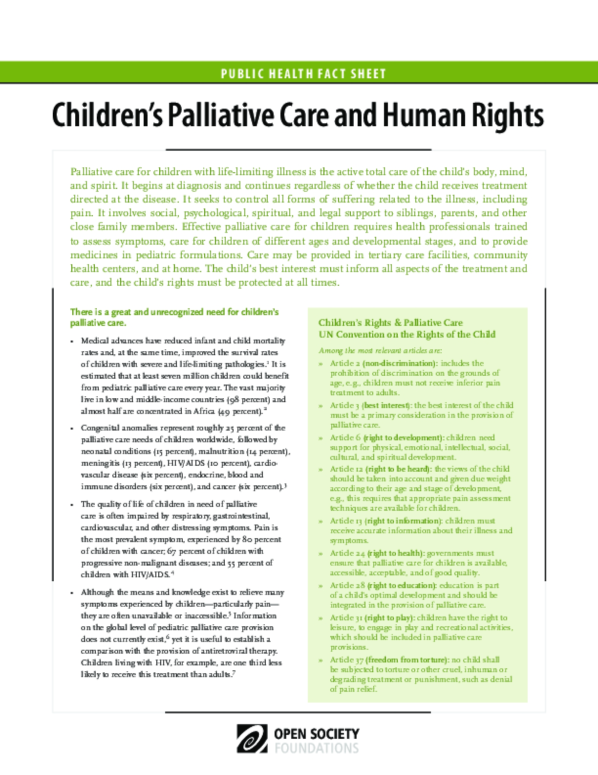 Children's Palliative Care and Human Rights