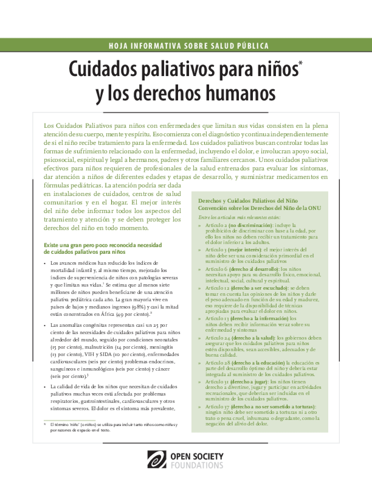 Children's Palliative Care and Human Rights: Spanish