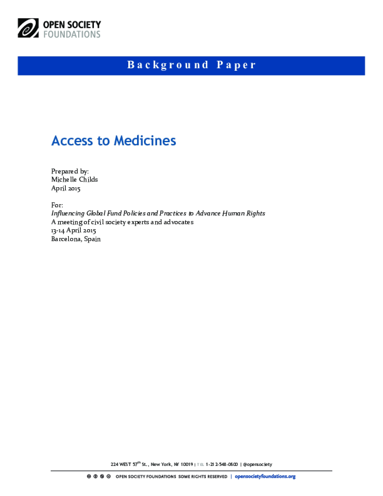 Access to Medicines and the Global Fund