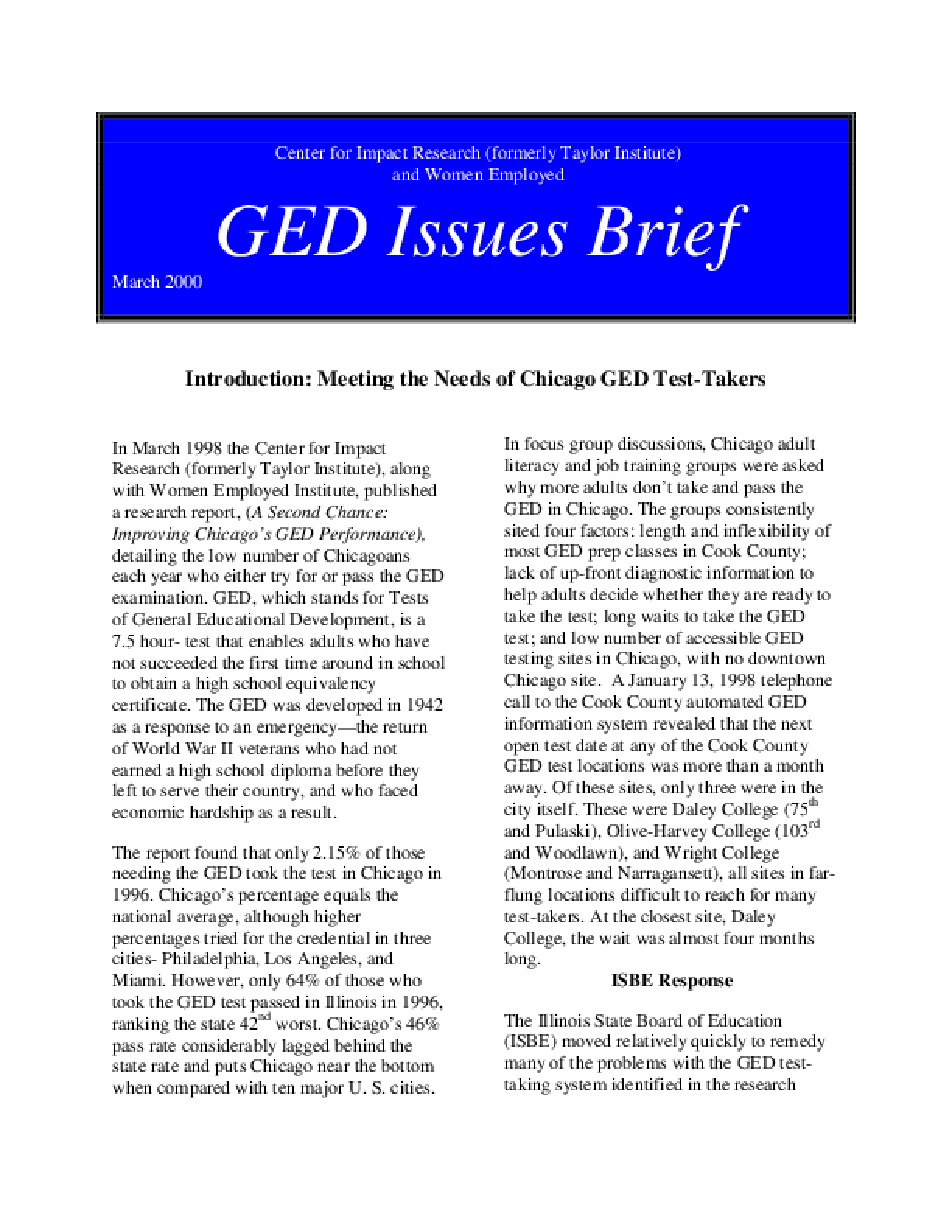 GED Issues Brief #1