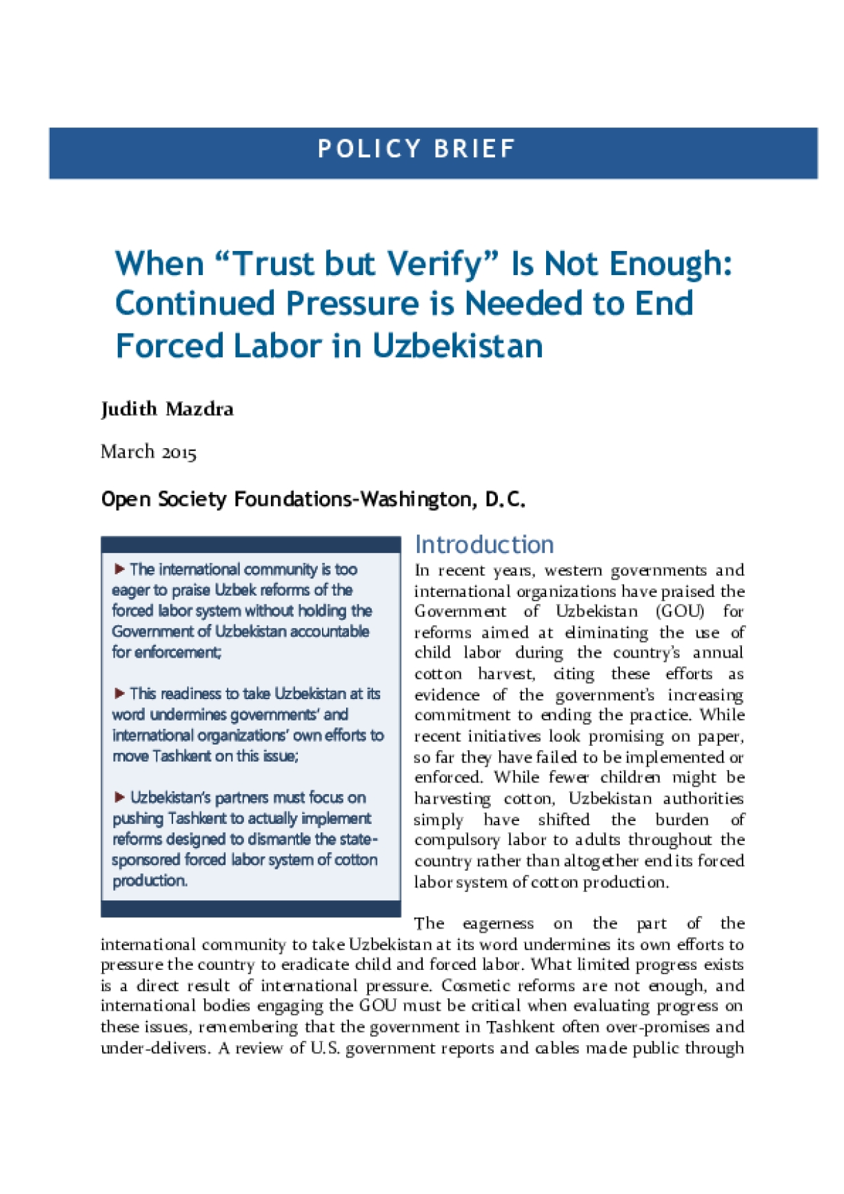"""When """"Trust but Verify"""" Is Not Enough: Continued Pressure Is Needed to End Forced Labor in Uzbekistan"""
