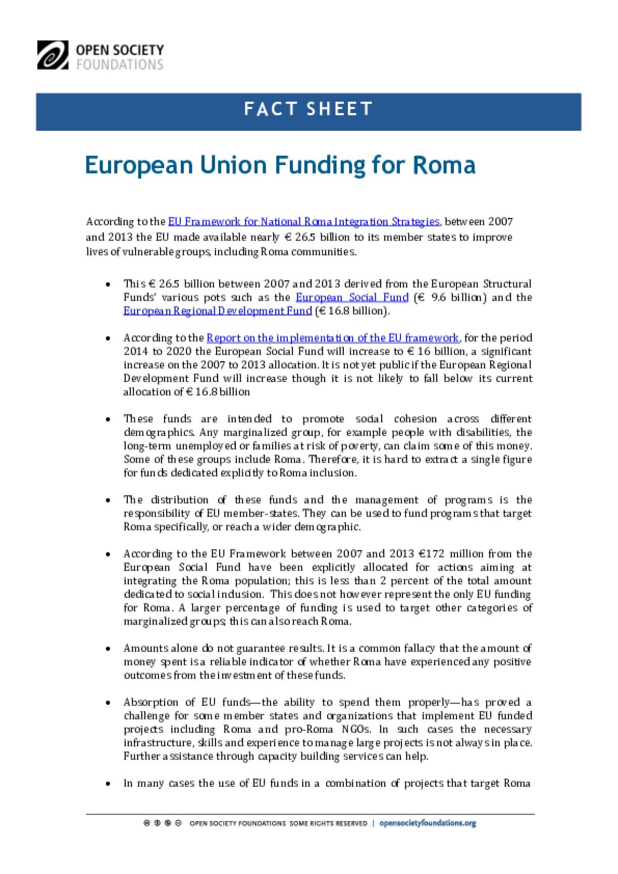 European Union Funding for Roma