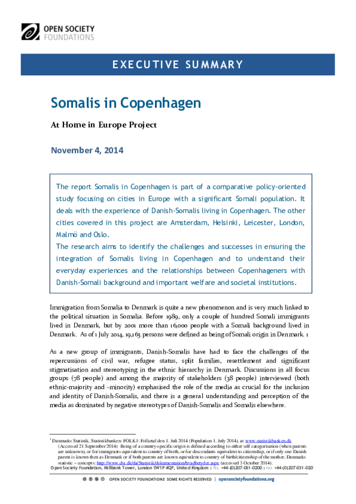 Somalis in Copenhagen: Executive Summary