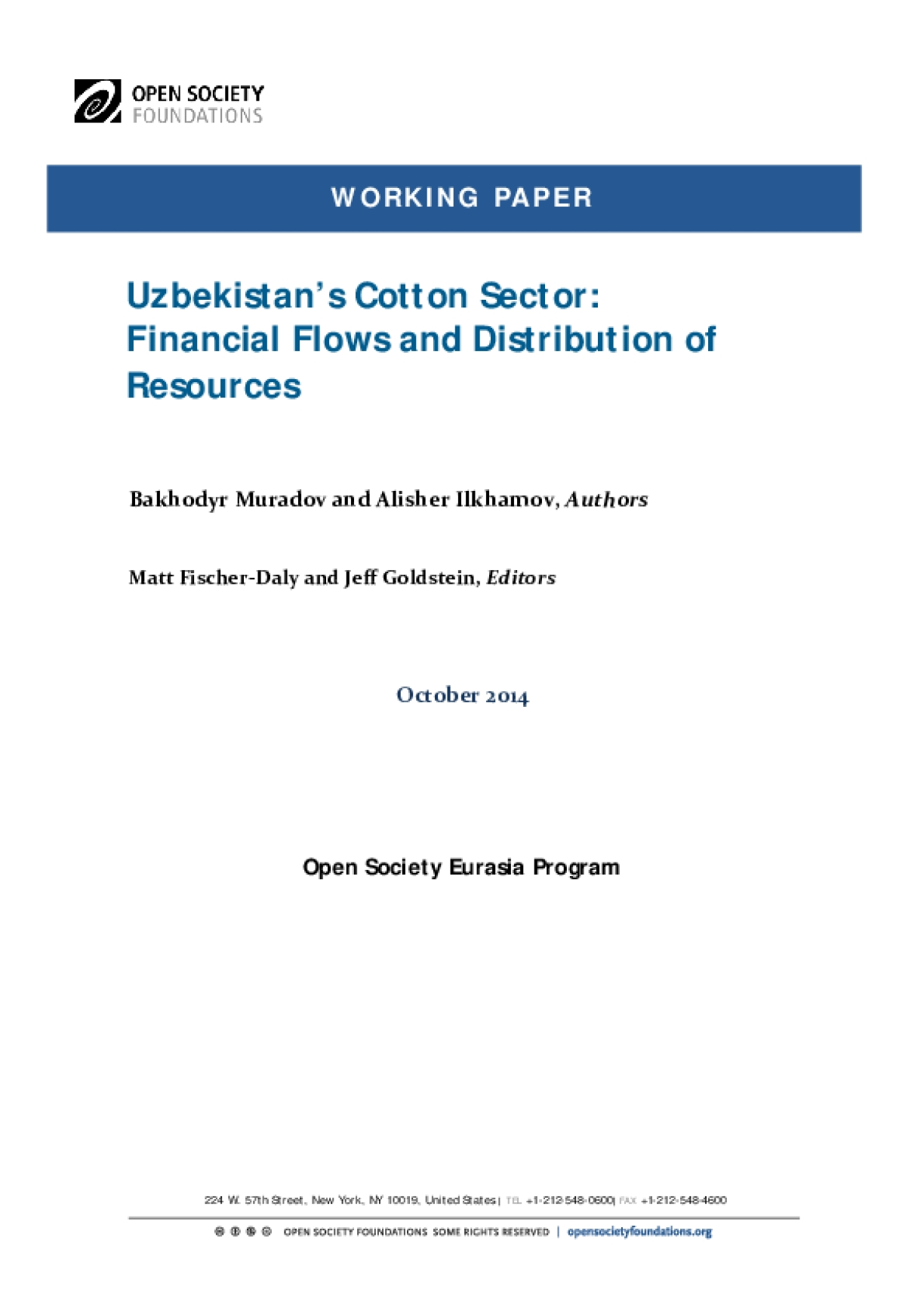 Uzbekistan's Cotton Sector: Financial Flows and Distribution of Resources