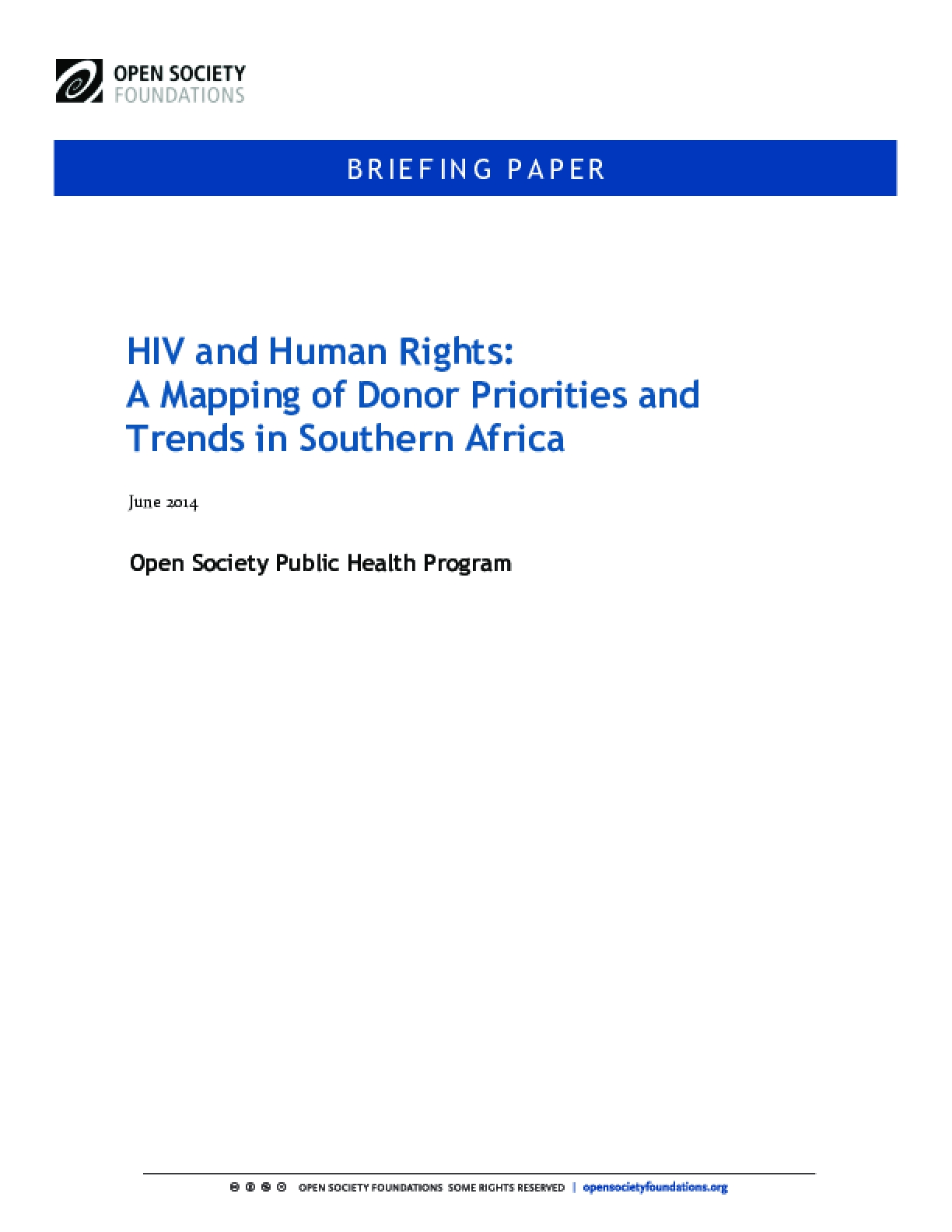 HIV and Human Rights: A Mapping of Donor Priorities and Trends in Southern Africa