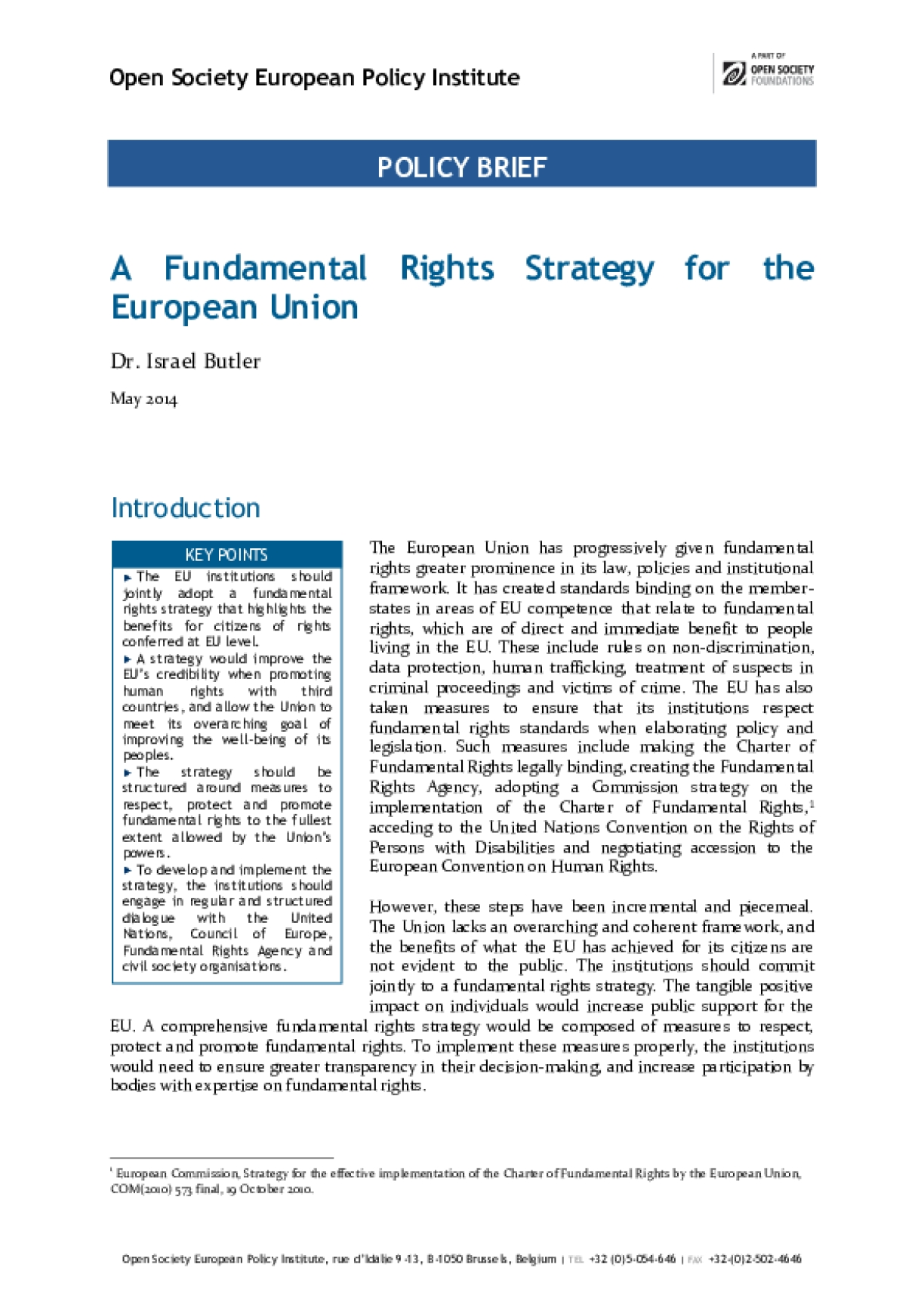 A Fundamental Rights Strategy for the European Union