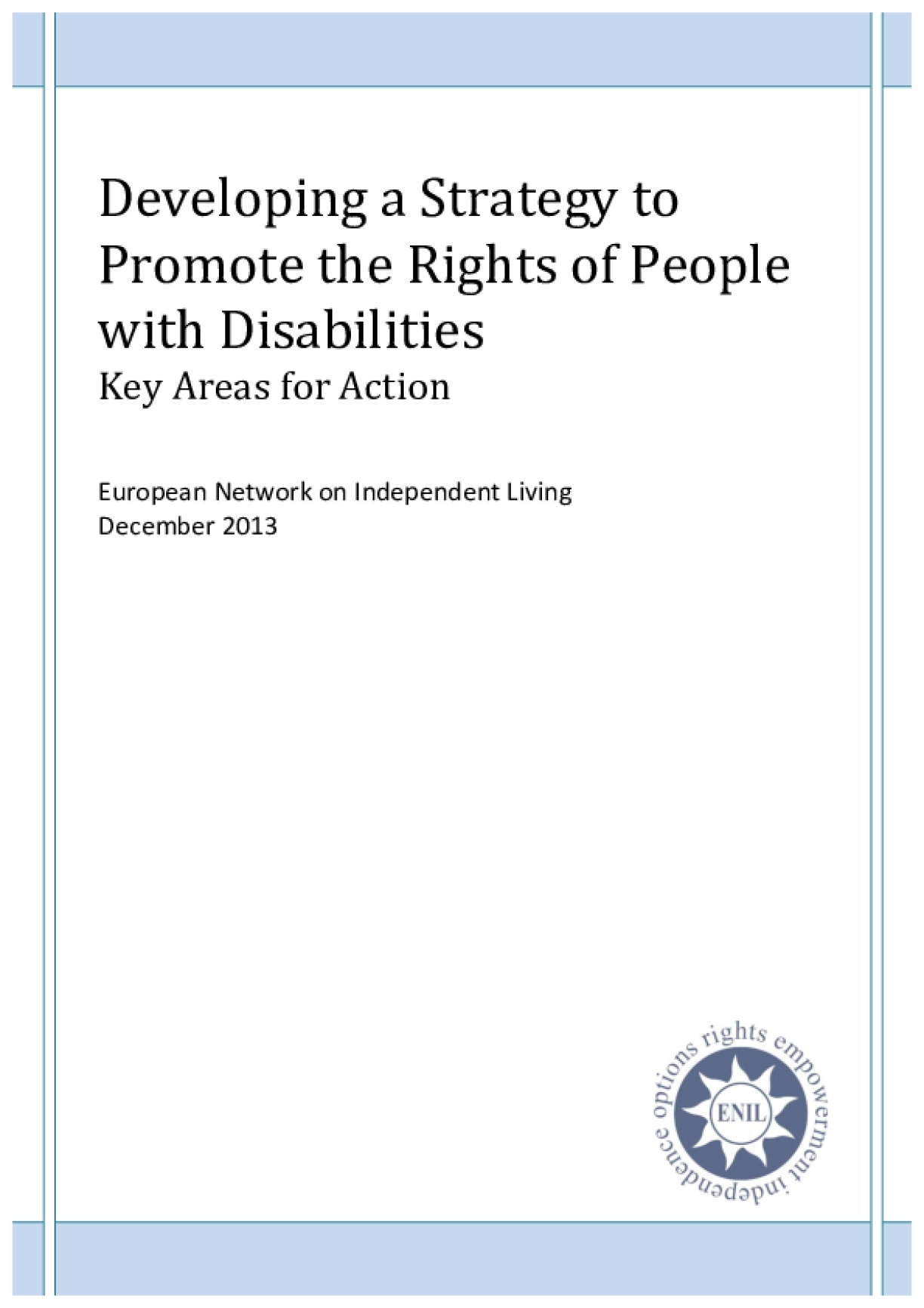 Developing a Strategy to Promote the Rights of People with Disabilities