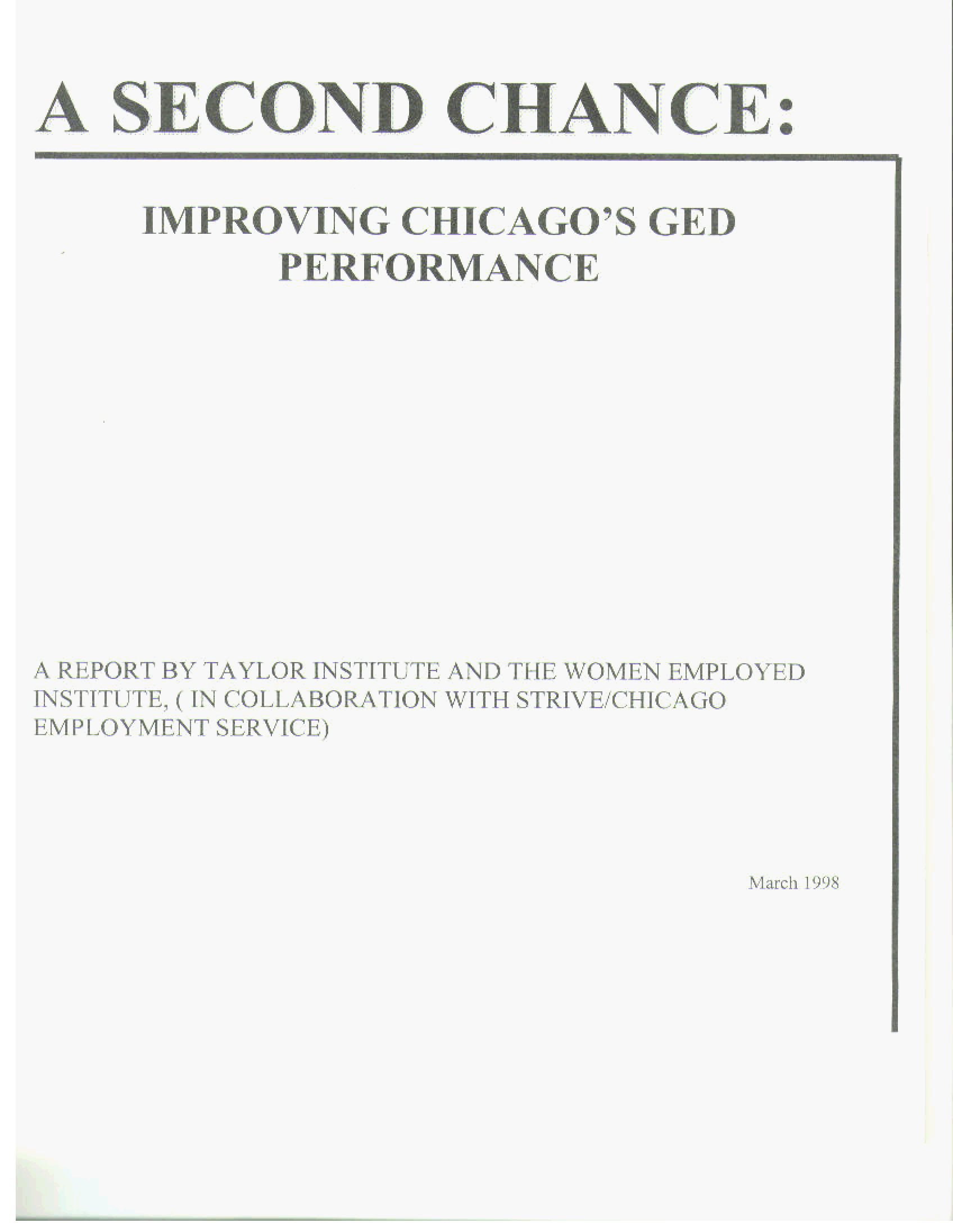 A Second Chance: Improving Chicago's GED Performance