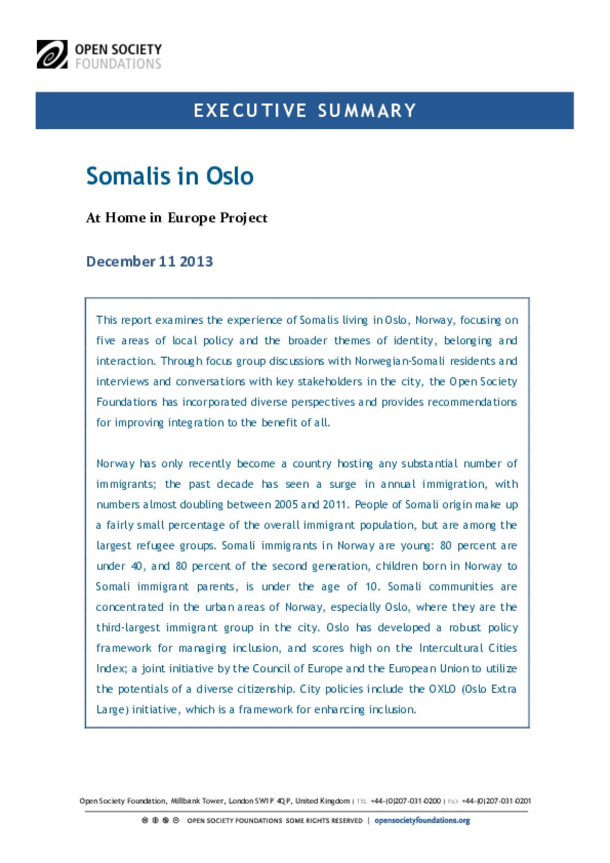Somalis in Oslo: Executive Summary