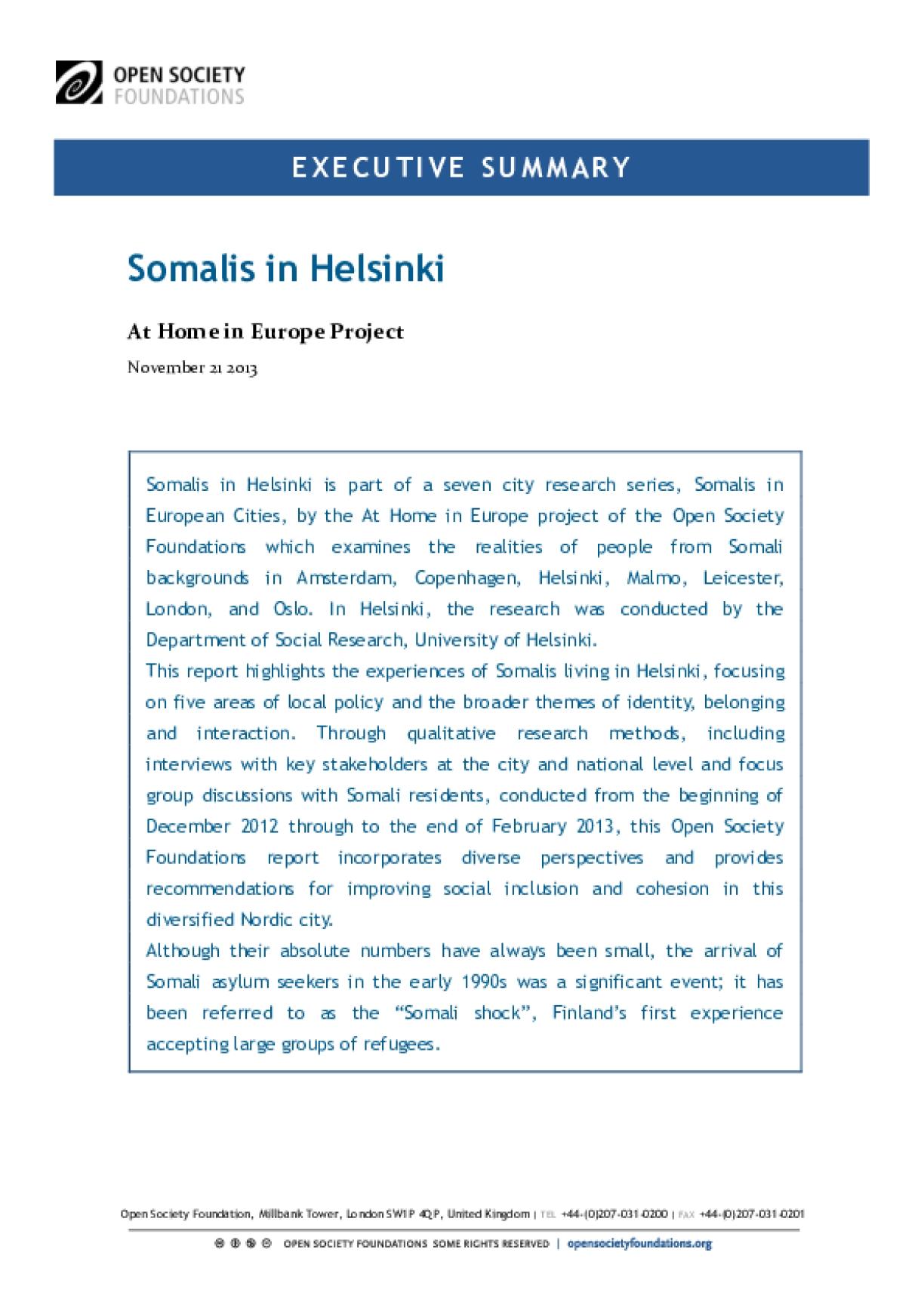 Somalis in Helsinki: Executive Summary