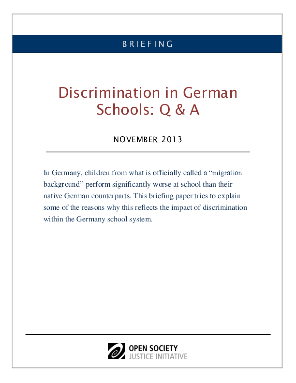Discrimination in German Schools: Questions & Answers