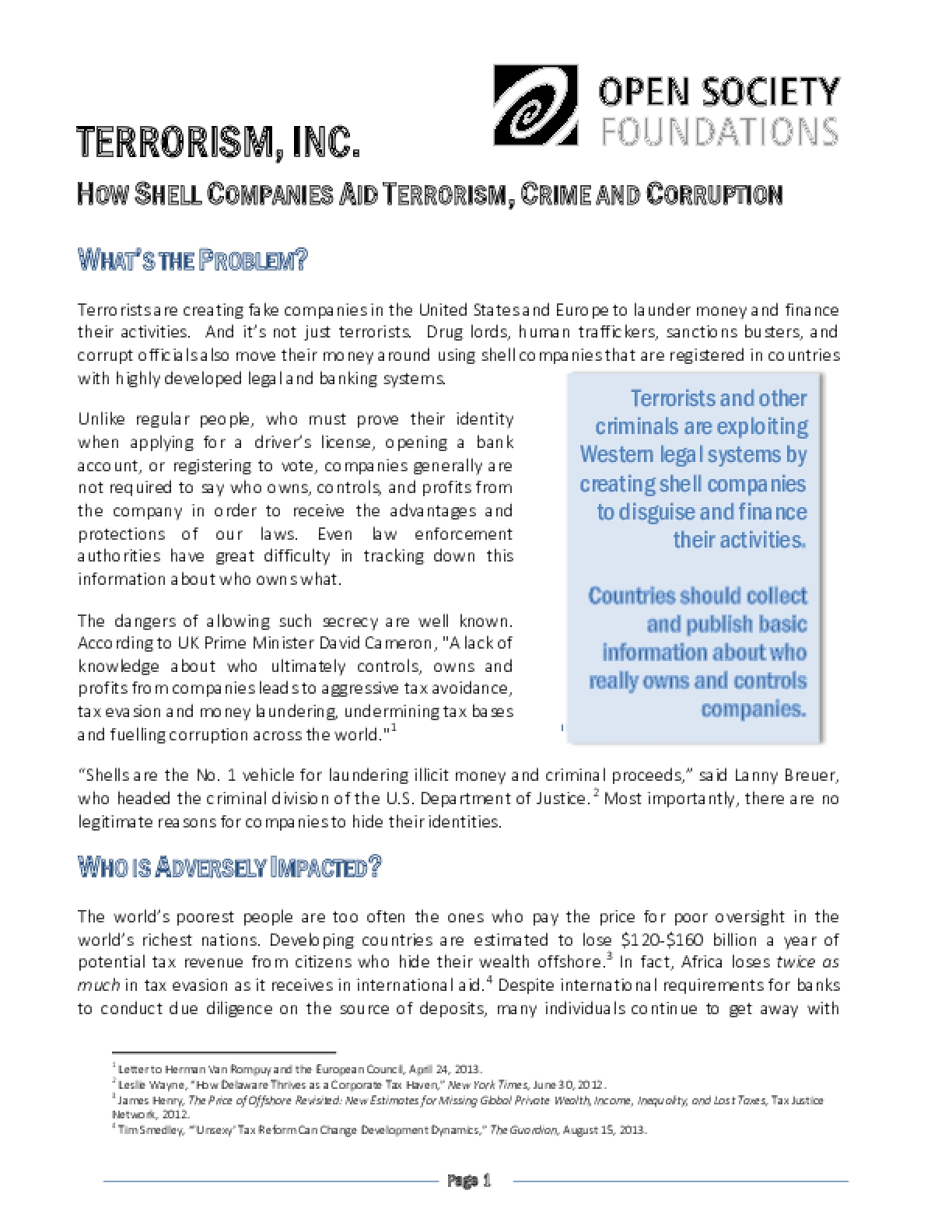 Terrorism, Inc.: How Shell Companies Aid Terrorism, Crime, and Corruption