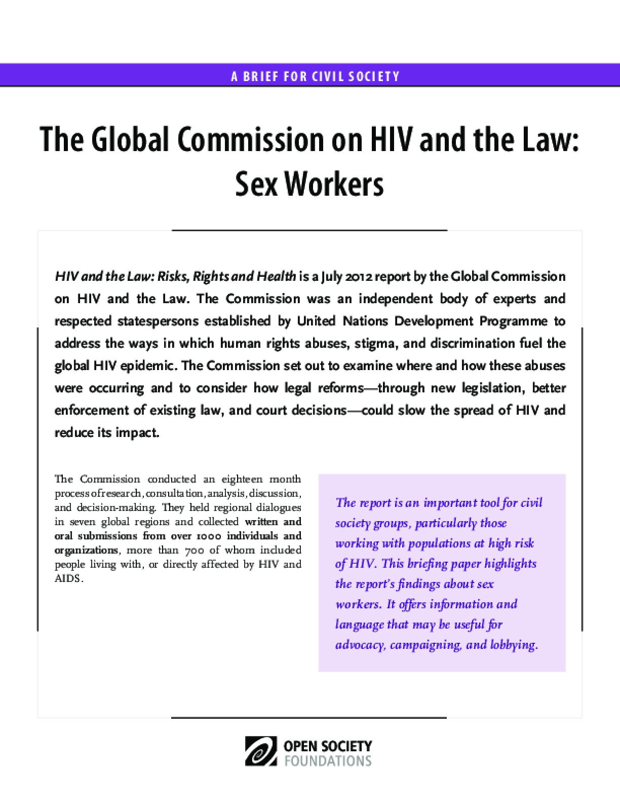 HIV and the Law: Sex Workers